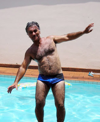 on the pool - daddies hairy men