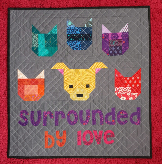 dog and cat mini quilt