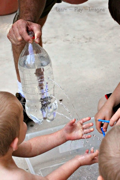Making a water fountain to learn about water pressure - hands on water science for kids