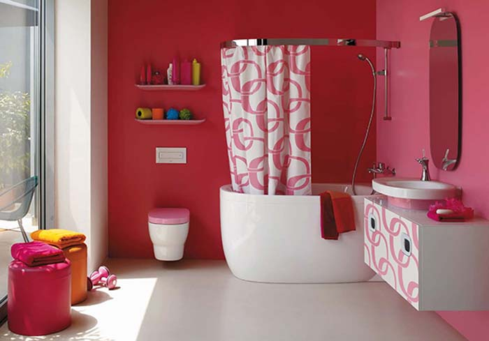 Bathroom pink wall colours decoration ideas interior - Pink bathtub decorating ideas ...
