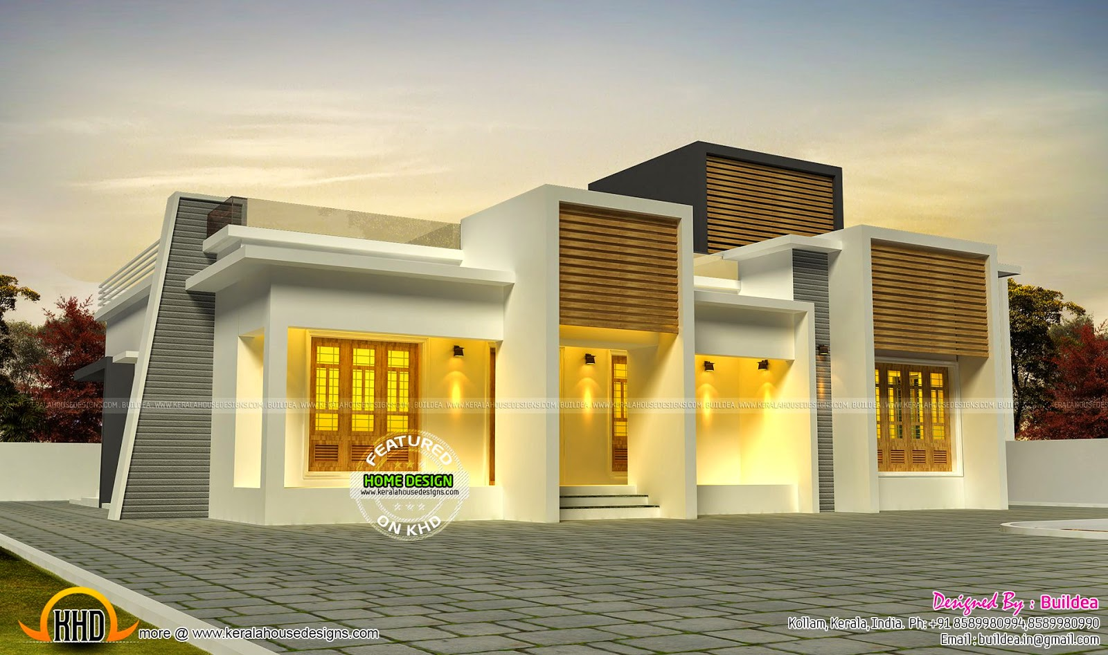 Flat roof single storied home kerala home design and for Flat roof elevation