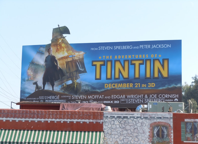 Tintin Secret of the Unicorn billboard