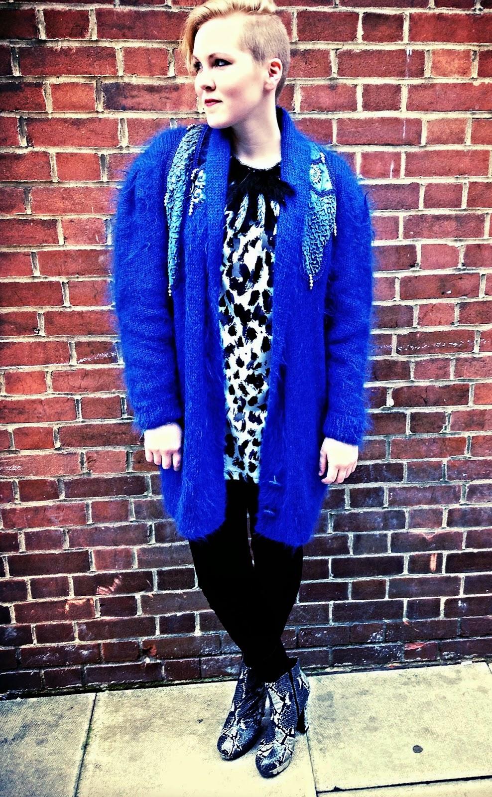 London Fashion Week Street Style blue coat