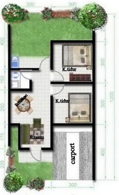 gambar denah rumah minimalis type 36 dengan 2 kamar tidur