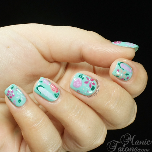 Flower Gardent Nail art with BSG Vintage Garden