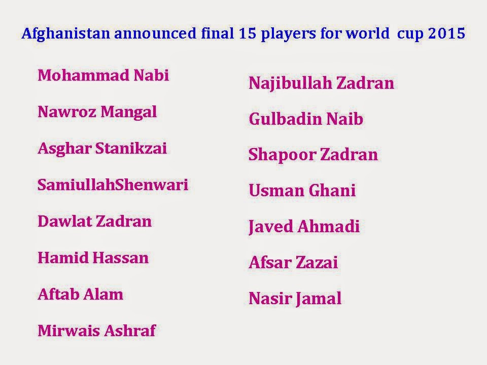 Afghanistan Final 15 squad for world cup 2015