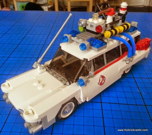 The LEGO Ghostbusters Ecto-1 ambulance hearse and Minifigures set 21108 vehicle side overhead detail