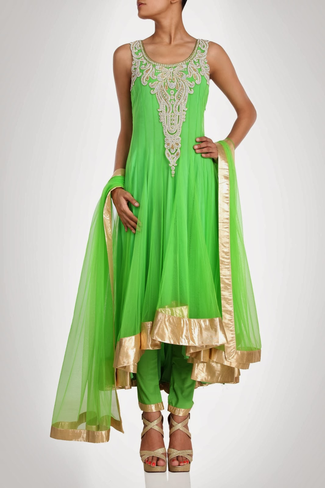 Lime green wedding dresses accented by the neon green
