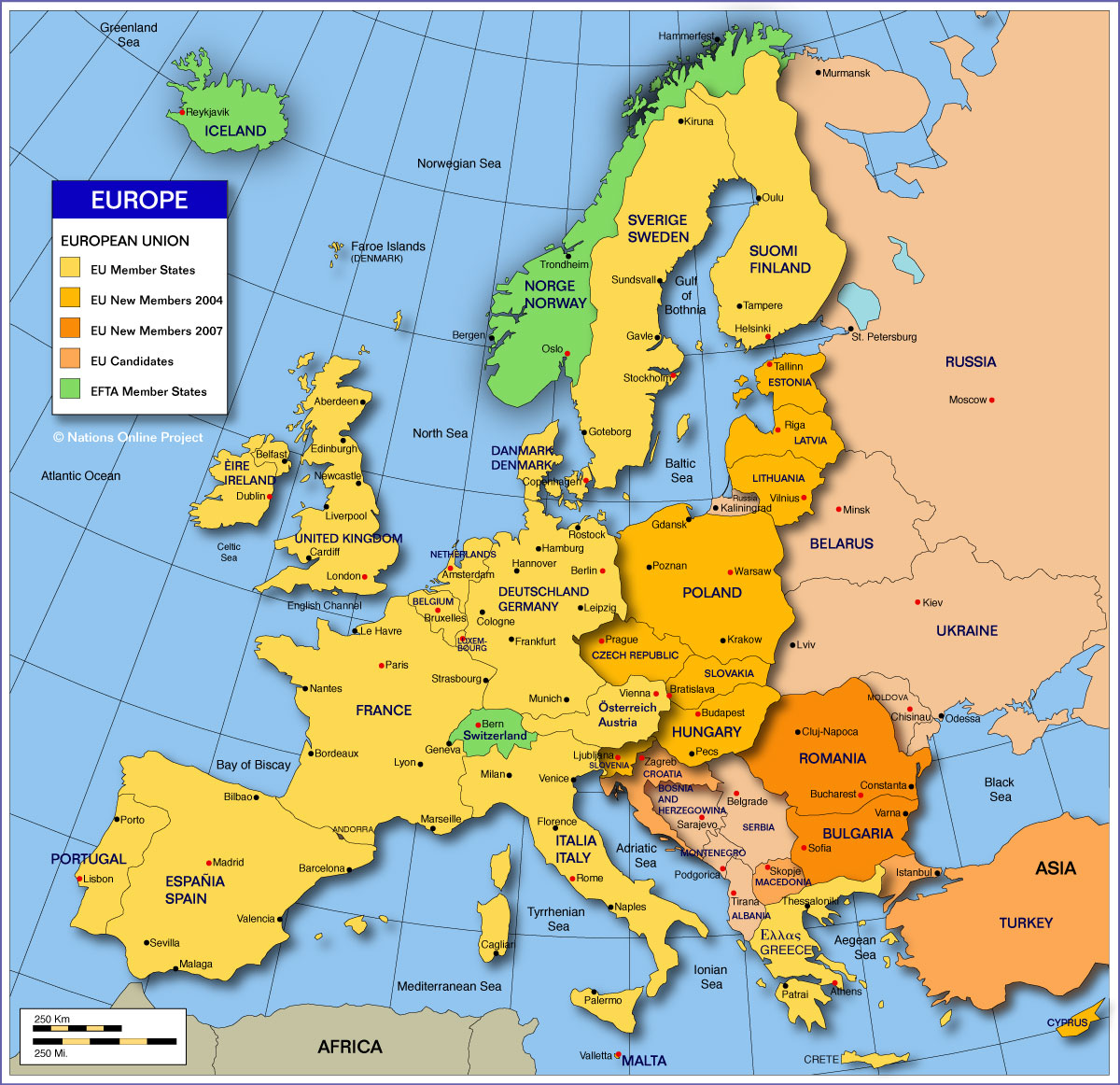 countries europe map