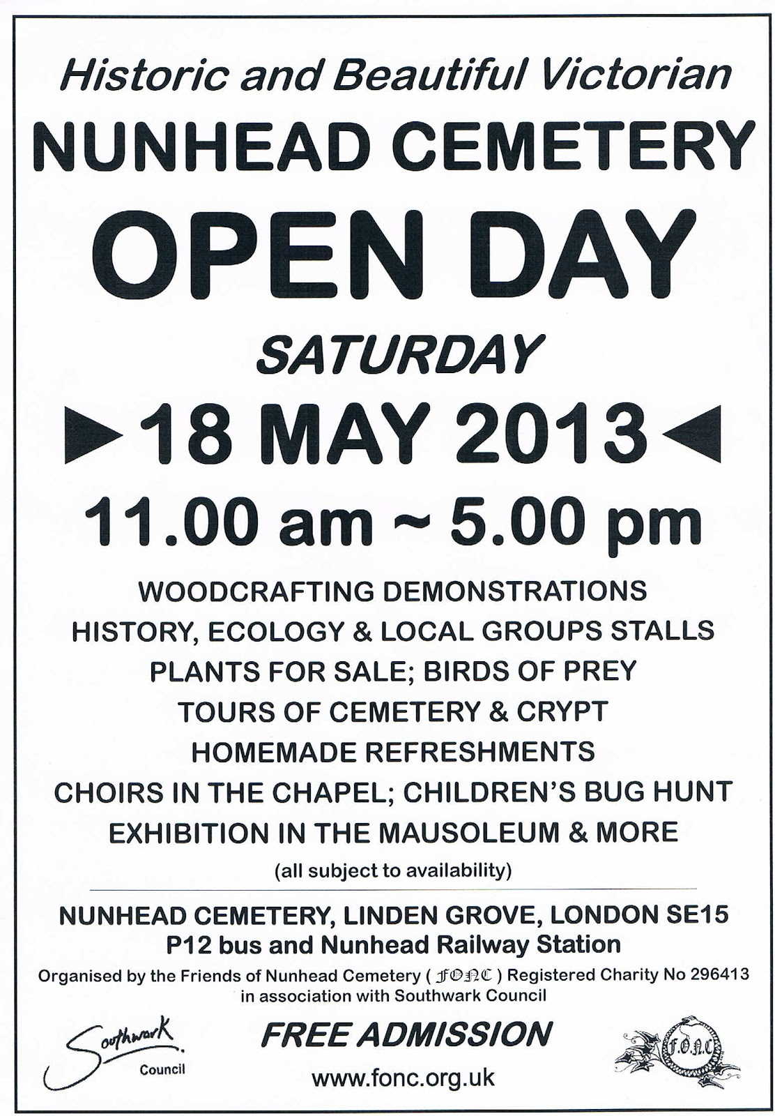 Nunhead Cemetery Open Day 2013 poster