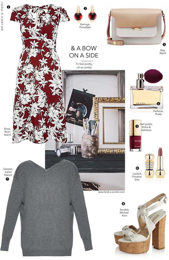 Outfit inspiration to style a floral dress / river island, isabel marant, michael kors, marni, pomelatto, prada, dolce&gabbana via look-a-porter.com style & fashion blog