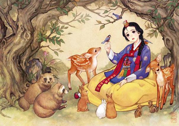 Ilustrador coreano muestra cómo los cuentos de hadas de occidente resultarían si hubieran sido creados en Asia