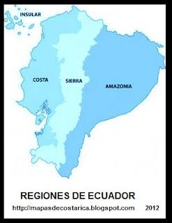 Mapa de las regiones de ECUADOR