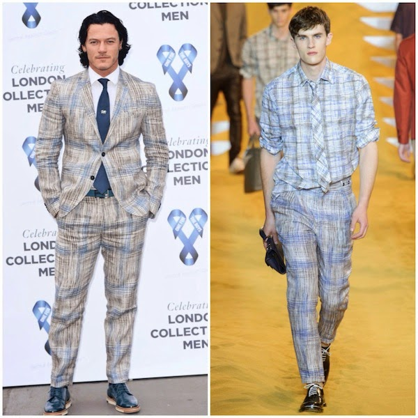 Luke Evans blue graphic Fendi Spring Summer 2014 suit - One For The Boys charity ball hosted by Samuel L. Jackson during London Collections Men SS15 on 15 June 2014 in London
