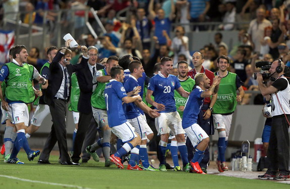 Italy U-21 player Lorenzo Insigne celebrates after scoring the winner against England U-21