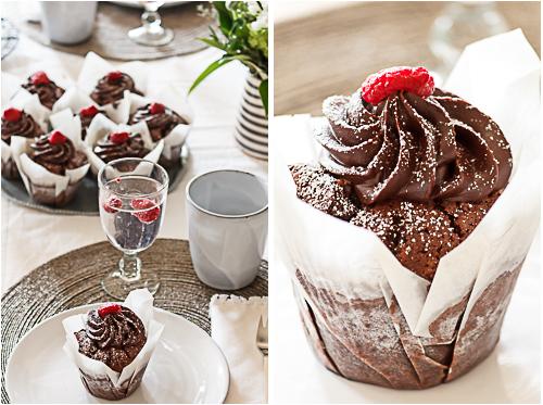 Amalie loves Denmark Schokoladen Cupcakes mit Himbeeren zum Geburtstag