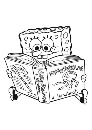 Spongebob Reading Coloring Page