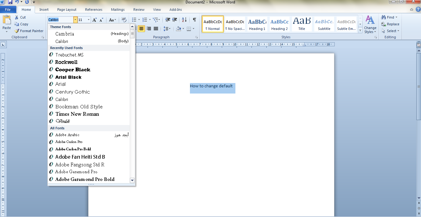 how to set default font in word 2010