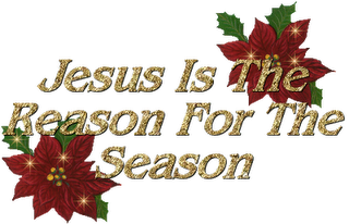 Christmas leaves decoration background picture with Jesus is the reason for the season words