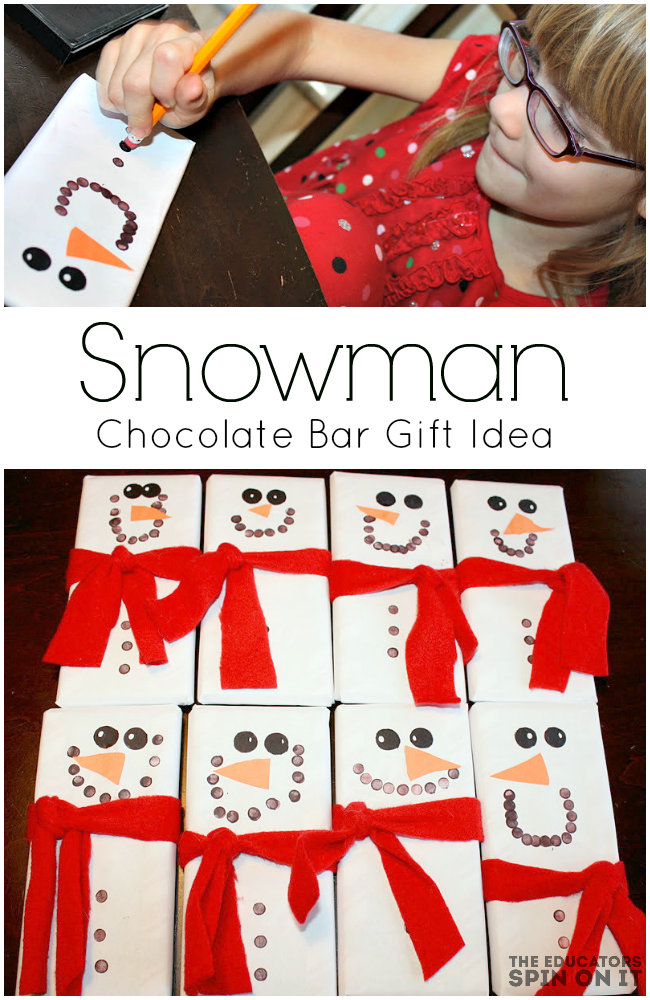Snowmen Candy Bars Make Great Teacher Gifts, a gift kids can make and give