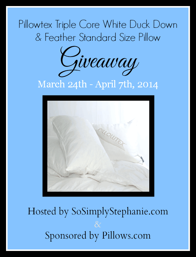 Enter to win the Pillowtex White Duck Down & Feather Pillow Giveaway. Ends 4/7.