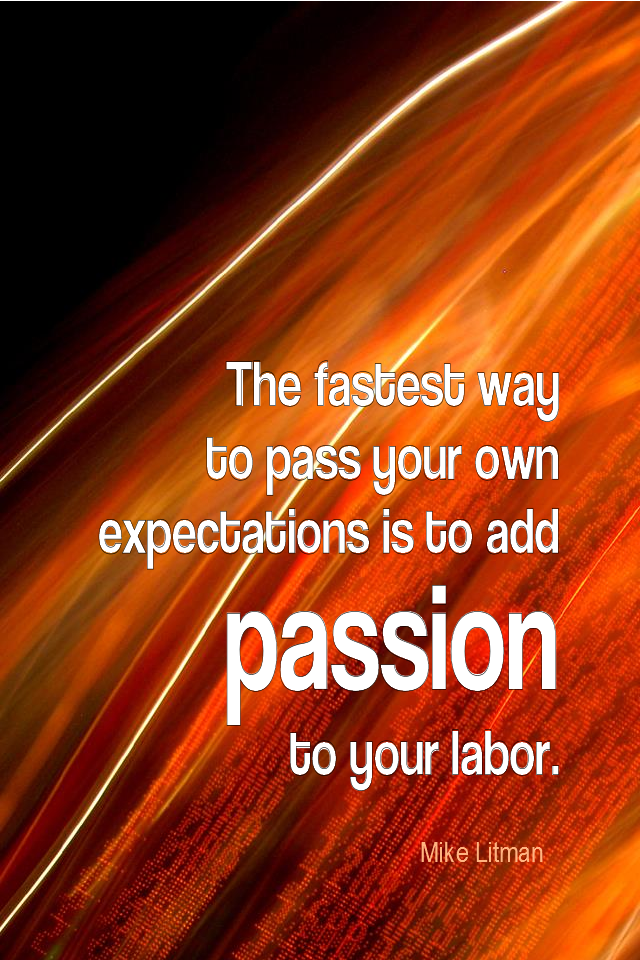 visual quote - image quotation for ENTHUSIASM - The fastest way to pass your own expectations is to add passion to your labour. - Mike Litman