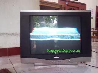 kerusakan tv sanyo, gambar menyempit, trapesium