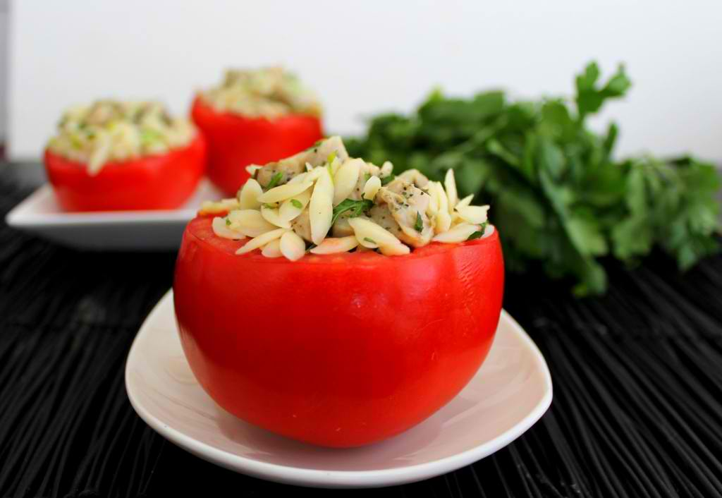 ... Tasty Tuesday: Stuffed Tomatoes with Herbed Chicken and Orzo Salad