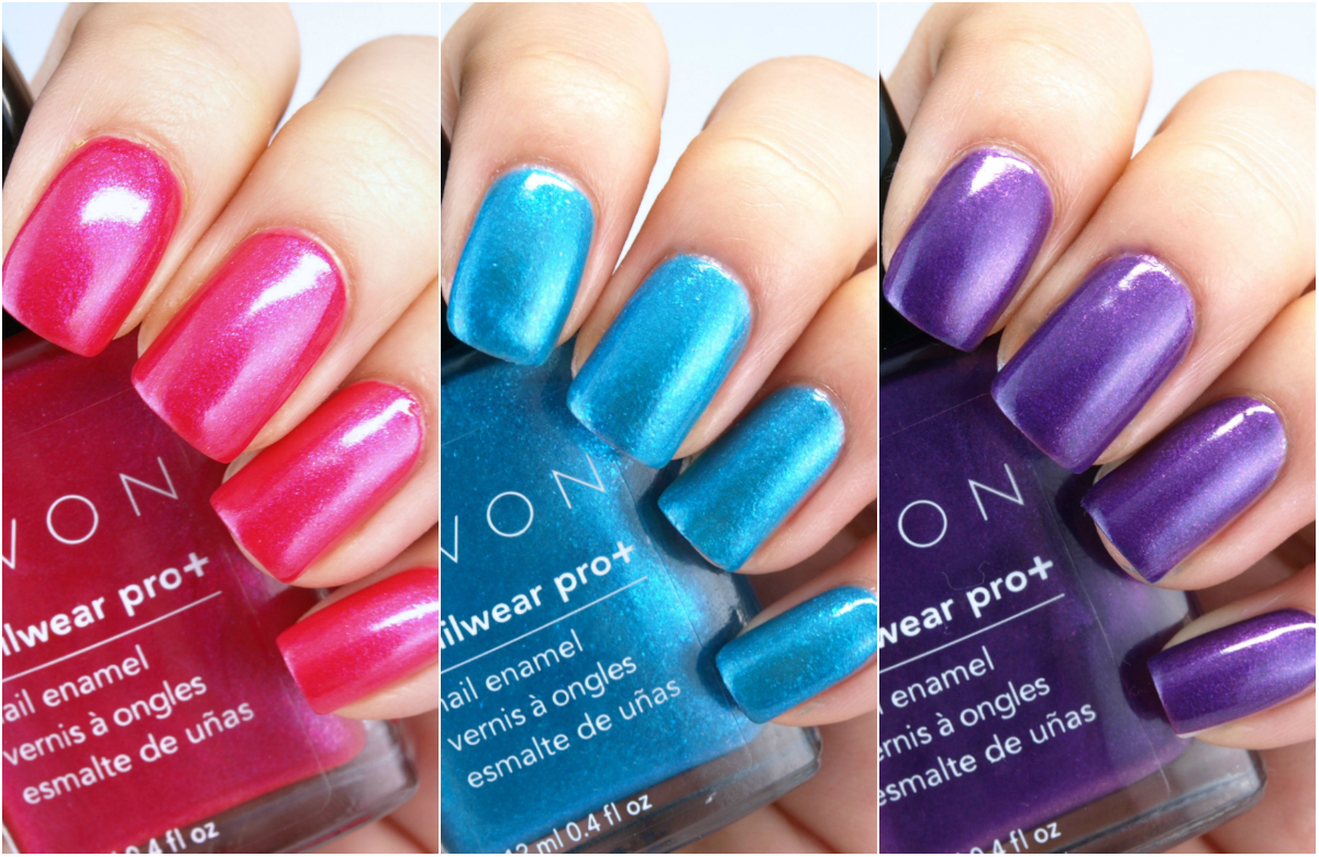 Avon Electric Shades Collection Nailwear Pro Nail Enamel Review And Swatches The Happy