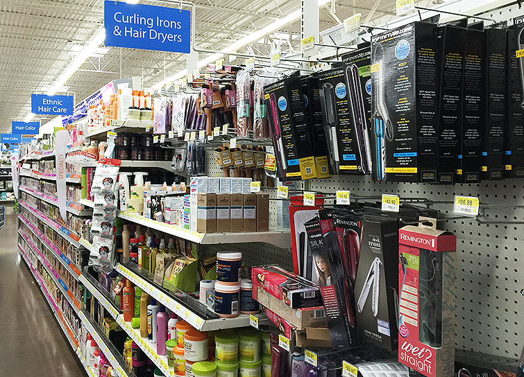 walmart curling iron section