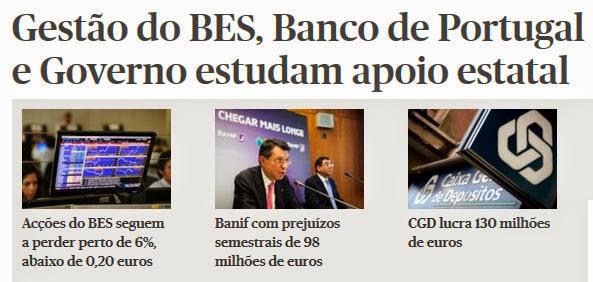 acções do BES seguem a perder; Banif com prejuízos de 98 milhões; CGD lucra 130 milhões