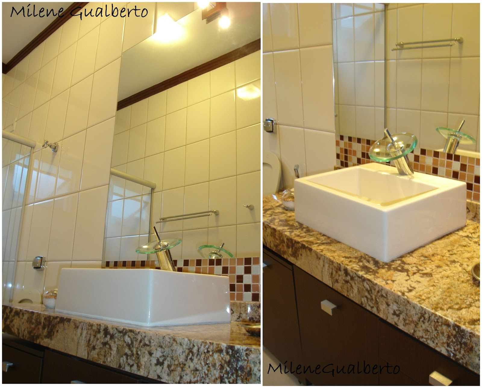 Gualberto: Projetos Residenciais Banheiro com revestimento Bege #AA8021 1600x1286 Banheiro Branco Bege