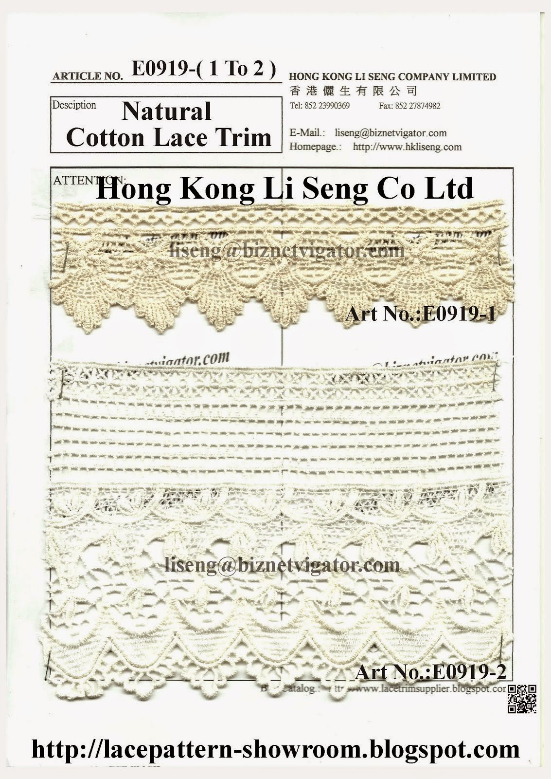 Natural Cotton Lace Trim Manufacturer Wholesaler Supplier - Hong Kong Li Seng Co Ltd