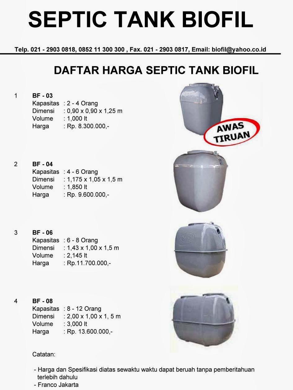 daftar harga septic tank biofil, price list, toilet portable, biogift, biofive, biotech, stp, ipal