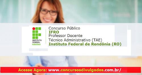 Inscrição Concurso IFRO Professor Docente e Técnico Administrativo
