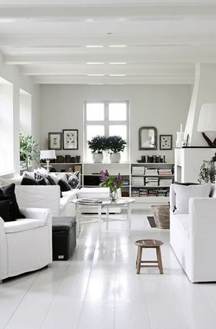 White living room in a Danish home
