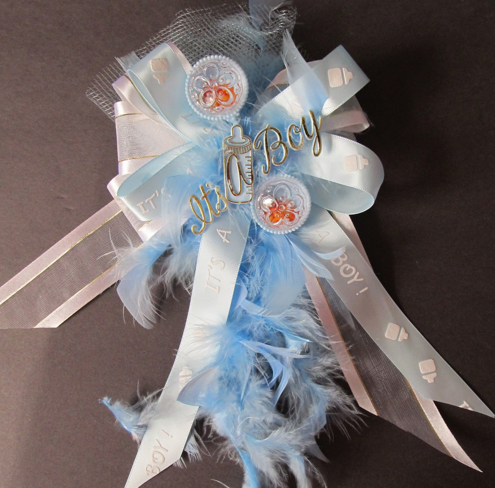 had fun making this keepsake corsage for a baby boy baby shower the