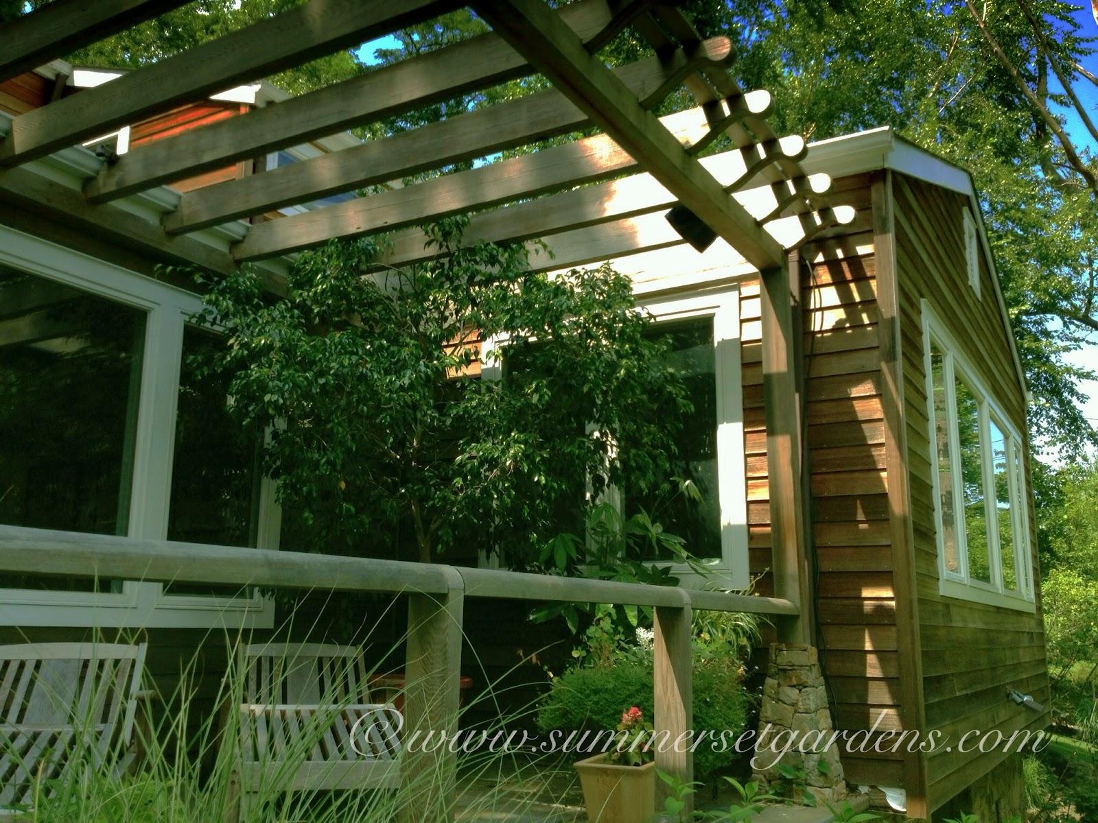 Garden design a small terrace pergola in a ny garden for Terrace pergola