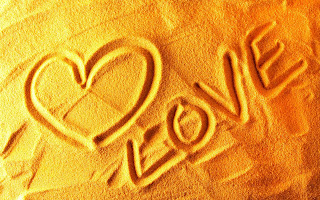 HD Love wallpapers, Love text written on sand, Sand Love wallpapers, Love, orange