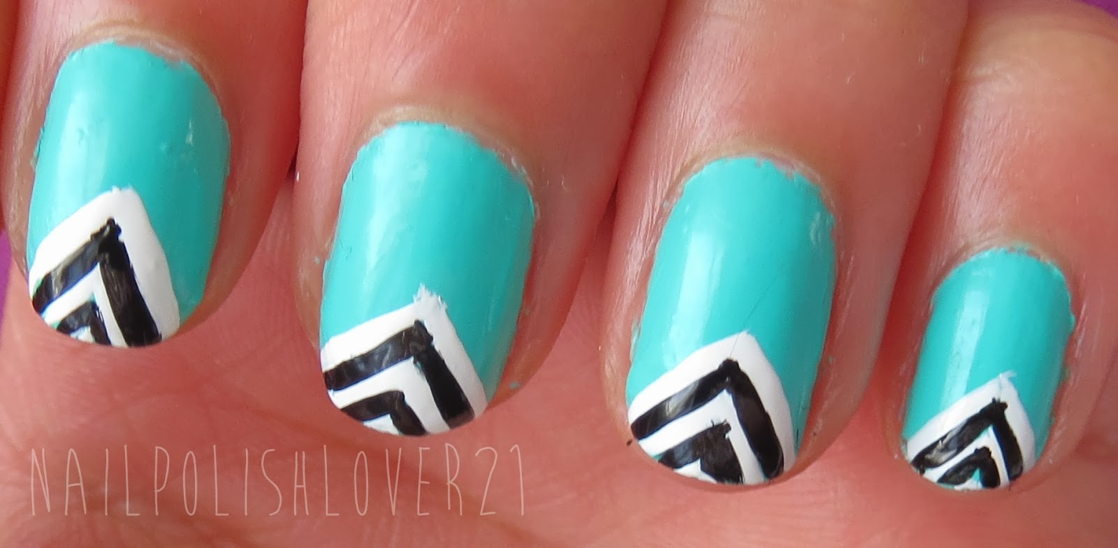 Nail Polish Reviews Swatches Turquoise Black And White Nail Art