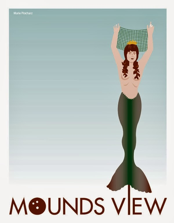 Giant Mermaid Mounds View Minnesota - MN Roadside Attraction Travel Poster