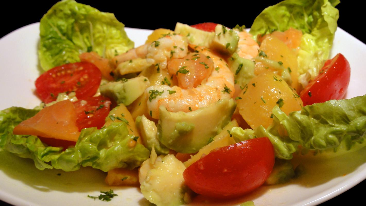 Cocinar para los amigos ensalada de patata langostinos y - Ensalada de langostinos ...