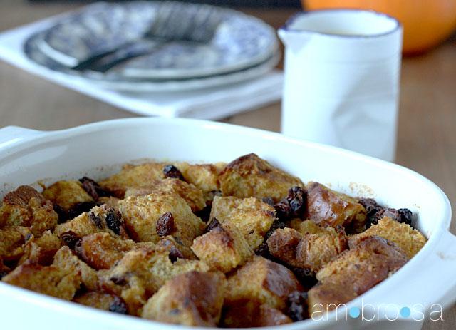 ambrosia: Pumpkin Bread Pudding with Vanilla-Bourbon Sauce