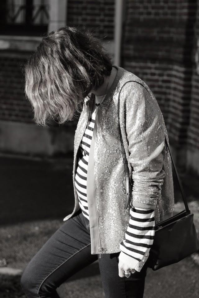 veste sequins, marinière, la redoute, tex by absolutely glamourous, celine, trio bag, adidas top ten, juste juliette, blog mode lille, fashion blogger