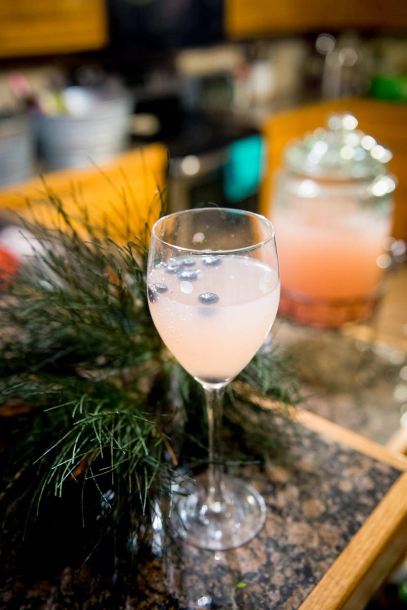 Moscato Holiday Punch with pink lemonade