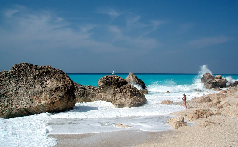 Westküste Lefkada: Strand bei Kalamitis (Lefkas, Griechenland)