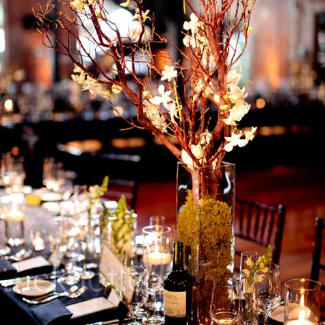 The Autumn Wedding Curly Willow Branches With Orchid Centerpieces