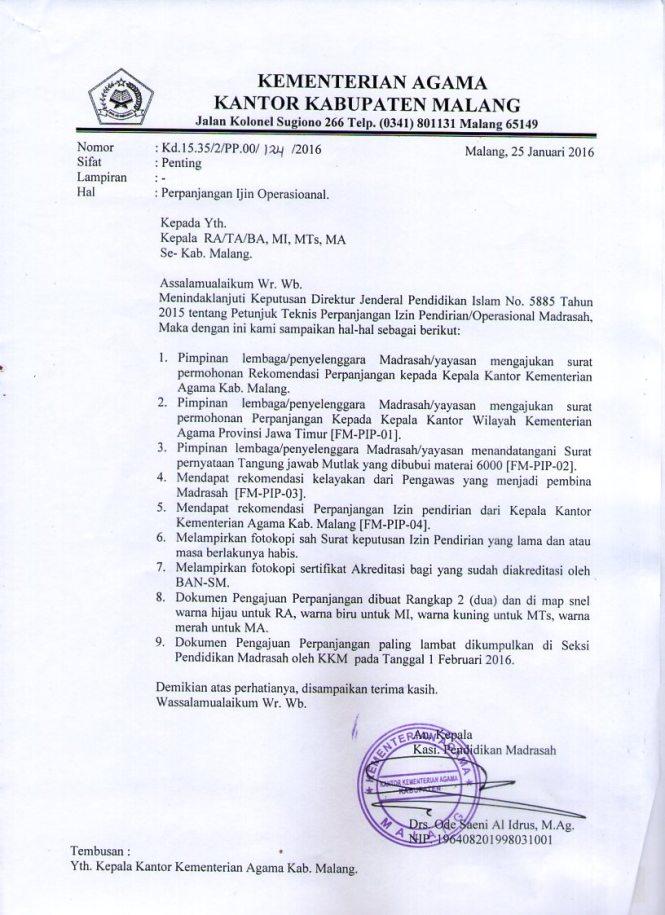 Madrasah Ibtidaiyah Al Fatah Perpanjangan Izin Operasional