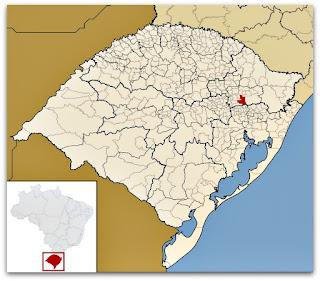 Cidade de Farroupilha, no mapa do Rio Grande do Sul.