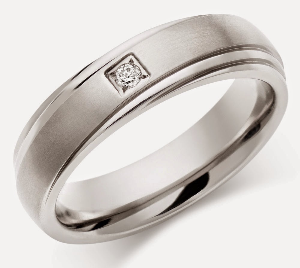 Mens Titanium Wedding Rings Diamond Elegant Design